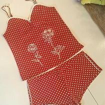Avon Cami Top Boy Shorts Size Medium Red & White Polka Dot Print Shortie Pajamas Photo