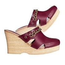 Avon Chained Link Clog Burgundy Women's Summer Slippers Size 6 Photo