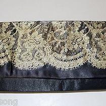 Avon Clutch Bag Black Satin and Antique Lace Photo