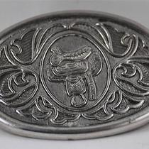Avon Collectible Silver Belt Buckle Western High Relief Saddle Vintage Photo