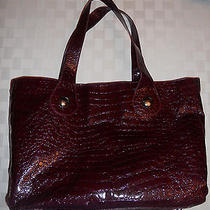 Avon Computer Bag Cosmetic Shoulder Bag Tote Maroon Crocodile Print Photo