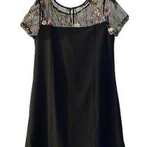 Avon Coveted Black Dress W/floral Shoulder Panel Brand New With Tags Size 10-12 Photo