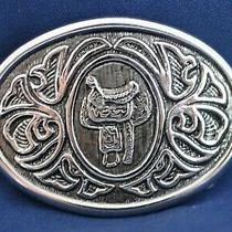 Avon Dual Silver Tone Western Belt Buckle Saddle Photo