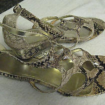 Avon Faux Snake Skin Wedge Sandals Size 9  Wild Thing Photo