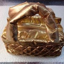 Avon Gold Quilted Puffy Soft Gold Material Purse Handbag Cosmetic Bag Photo