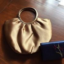 Avon Gold Satin- Like Clutch Navy Satin-Like Double Lipstick Case New Photo