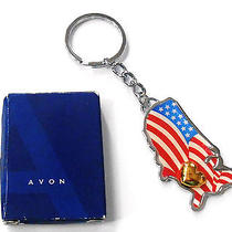 Avon Heart of America Key Chain in Silvertone With Goldtone Heart Nos 2006 Photo