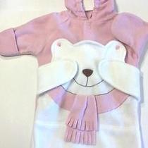 Avon Infant Size 0-6m Pink Teddy Bear Fleece Winter Wrap Photo
