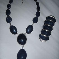 Avon Jewerly  Necklace and Bracelet Black and Silver Photo