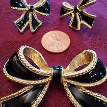 Avon k.j.l Bow Ribbon Scarf Pin and Pierced Earring Set Black and Gold Photo