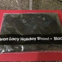 Avon Lacy Holiday Shawl Black  1991 New Photo