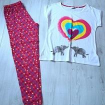 Avon Ladies Elephant Rainbow Spotty Cotton Pyjamas Size 12 - 14 Pink White Photo