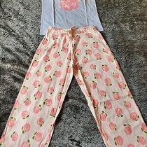 Avon 'Lifes Peachy' Womens Pyjamas Size 10-12 Vest Top 3/4 Bottoms Bnwt  Photo