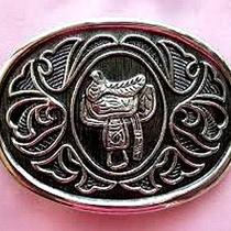 Avon Mens Silver Plated Saddle Belt Buckle Photo