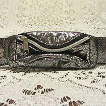 Avon Metallic Silver Wrist Wrap Around Zippered Wallet Nip Photo