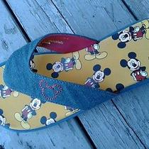 Avon Mickey Mouse Flip-Flop Blue Jean Strap Women Size 7-8 Unique Photo