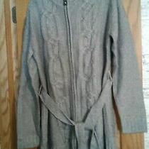 Avon Misses Zip Front Cable Sweater Gray Size Xl  Photo