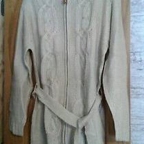 Avon Misses Zip Front Cable Sweater  Size Xl  Tan/natural   Photo