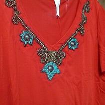 Avon Nib 1x Red Ornate Beaded Tshirt Vneck Ss Never Worn 100% Polyester New Photo