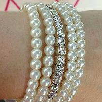 Avon Pearl and Rhinestone Bracelet Set Photo