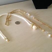 Avon Pearl Necklace With Teardrop Pearl Pendant & Gold Tone Graziano Necklace Photo