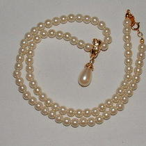 Avon Pearl Necklace With Teardrop Pearl Pendant Gold Tone With Cz Photo