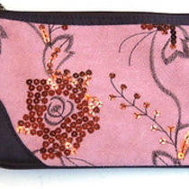 Avon Pinkbrown Embroided Clutch Purse  Gift  Photo