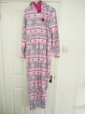 AVON Pink Fairisle Christmas All in One Romper Sleepsuit Zip-Up Size 8-10 NEW Photo