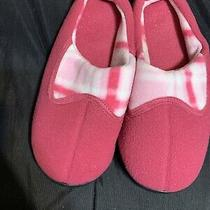 Avon Plaid Memory Foam Slipper Scuff Size Large (9-10) Pink Photo