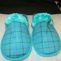 Avon Pop of Plaid Memory Foam Slipper Green Small (5-6)  Photo