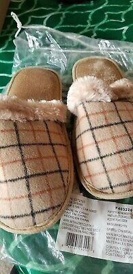 AVON Pop of Plaid Memory Foam Slippers M/M 7-8~Camel new Photo