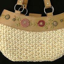 Avon Products Wicker Faux Leather and Wood Beads Handbag Purse Photo