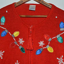 Avon Red Christmas Lights Snowflakes Ugly Sweater Zip Up Cardigan 3x Knit Photo