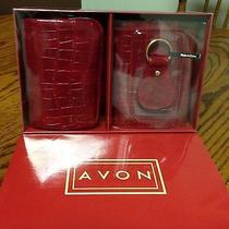 Avon Red Croco Look 3- Pcd Box Wallet Gift Set  Photo