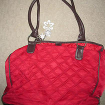 Avon Red Quilted Shoulder Bag Tote Purse Photo