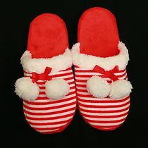 Avon Red & White Striped Slippers Sm(5-6)  Gift Photo