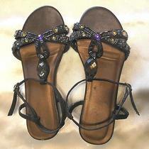Avon Sandals Rare 6m Brown Bling Rhinestones and Beaded Womens Vguc Photo