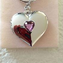 Avon Shimmering Heart Birthstone Photo Keychain-February Photo