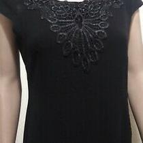 Avon Signature Collection Black Applique Dress Sm Cap Sleeves Bk Zp Women New Photo