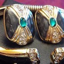 Avon Signed Kenneth J Lane Duchess of Windsor Bracelet & Pierced Earring Set Kjl Photo