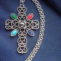 Avon Signed Vintage 1960's Big Colourful Cross Pendant Necklace Silver 60s 70s Photo