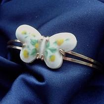 Avon Signed Vintage 1970's Yellow  White Ceramic Butterfly Bracelet 70s 80s Photo