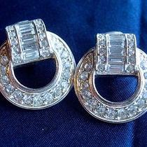 Avon Signed Vintage 1980's Art Deco Clear Rhinestone Earrings Glamour 70s 80s Photo