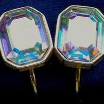 Avon Signed Vintage 1980's Aurora Borealis Rhinestone Earrings Clip on 70s 80s Photo