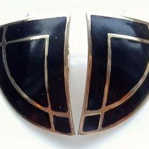 Avon Signed Vintage 1980's Chic Big Black  Gold Enamel Earrings Art Deco 80s Photo