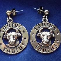 Avon Signed Vintage 1980's Gold Bull Taurus Zodiac Dangle Earrings Pierced 70s Photo