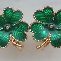 Avon Signed Vintage 1980's Green  Gold Enamel Clover Earrings Clip on 70s 80s Photo