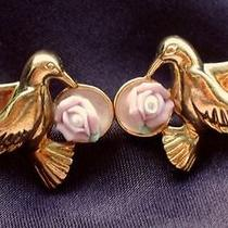 Avon Signed Vintage 1980's Pretty Gold  Pink Bird  Flower Earrings 70s 80s Photo