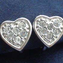 Avon Signed Vintage 1980's Sparkling Rhinestone Love Heart Earrings 70s 80s Photo