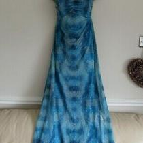 Avon Size 10/12 Blue & Turquoise Halterneck Stretchy Reversible Maxi Dress Photo